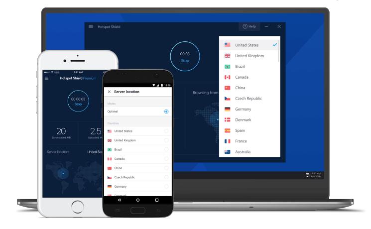 Hotspot Shield VPN UI - فیلتر شکن هات اسپات رایگان اندروید